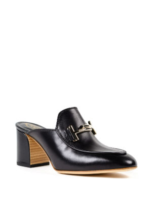 Tod'S: mules shoes online - Double T black leather mules