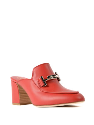 Tod'S: mules shoes online - Double T heeled mules