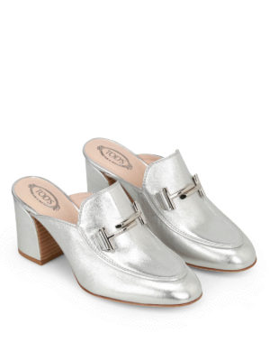 Tod'S: mules shoes online - Double T heeled silver mules
