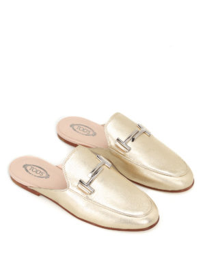 Tod'S: mules shoes online - Double T metallic leather mules