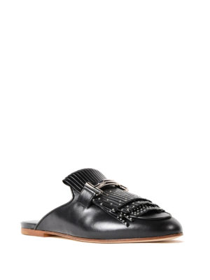 Tod'S: mules shoes online - Double T studded black mules
