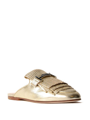 Tod'S: mules shoes online - Double T studded fringed mules