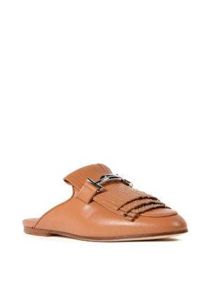 Tod'S: mules shoes online - Double T studded leather mules