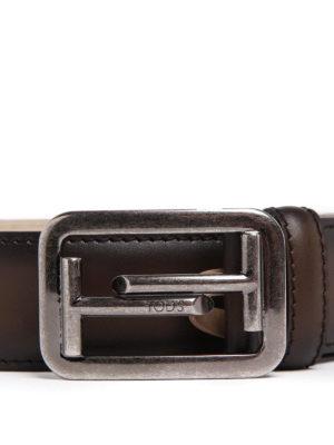 TOD'S: cinture online - Cintura Double T in pelle délavé