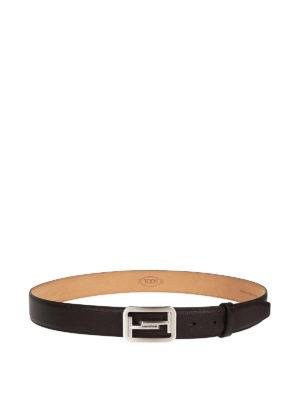 TOD'S: cinture online - Cintura Double T pelle martellata