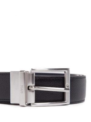 TOD'S: cinture online - Cintura con logo in pelle nera