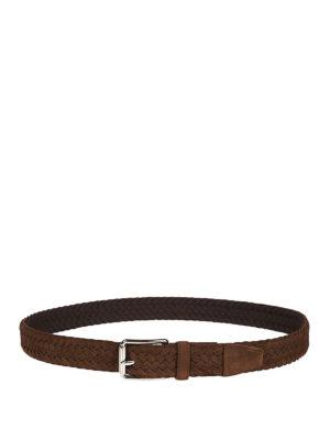 TOD'S: cinture online - Cintura intrecciata in camoscio
