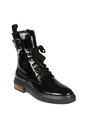 TOD'S: stivali online - Anfibi allacciati in pelle nera lucida