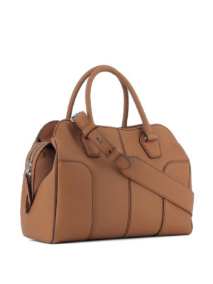 TOD'S: bauletti online - Sella piccola in pelle marrone