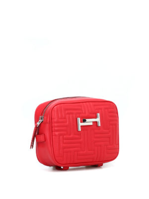 TOD'S: borse a tracolla online - Piccola borsa Double T rossa matelassé
