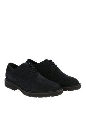 TOD'S: scarpe stringate online - Derby stringata in camoscio blu