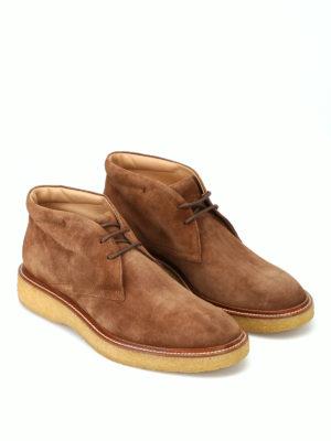 TOD'S: scarpe stringate online - Polacchini in camoscio marrone