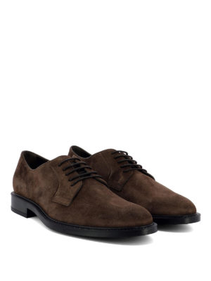 TOD'S: scarpe stringate online - Derby stringate in camoscio marrone
