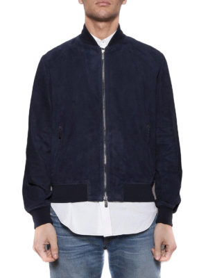 TOD'S: giacche in pelle online - Bomber in pelle scamosciata blu