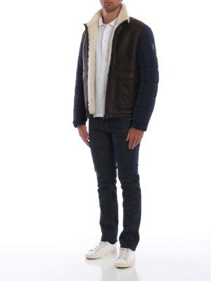 TOD'S: giacche in pelle online - Giubbotto in montone e tecnotessuto piuma blu