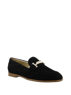 TOD'S: Mocassini e slippers online - Mocassino matelassé nero