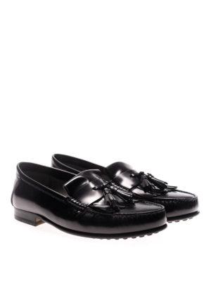 TOD'S: Mocassini e slippers online - Mocassini neri con frangia e nappe