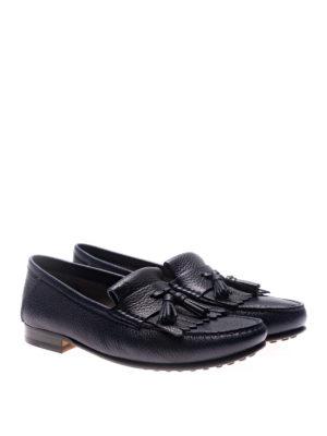 TOD'S: Mocassini e slippers online - Mocassini blu con frangia e nappe