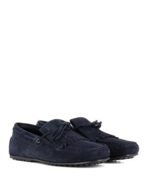TOD'S: Mocassini e slippers online - Mocassini blu con frangia in suede