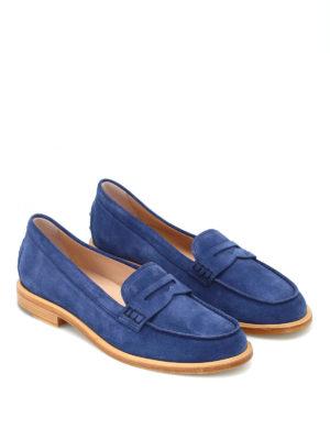 TOD'S: Mocassini e slippers online - Mocassini in pelle scamosciata blu