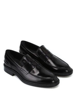 TOD'S: Mocassini e slippers online - Mocassini in pelle spazzolata con mascherina