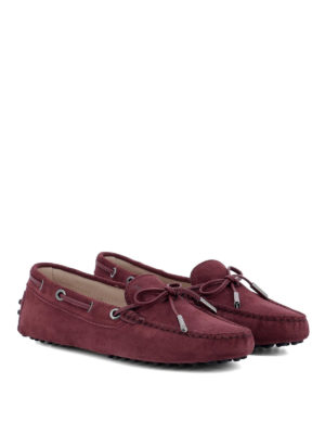 TOD'S: Mocassini e slippers online - Mocassini in camoscio bordeaux con laccetti