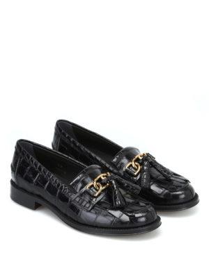 TOD'S: Mocassini e slippers online - Mocassini stampa cocco con catena e nappine