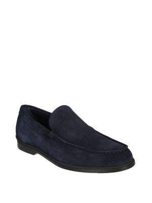 TOD'S: Mocassini e slippers online - Mocassini in camoscio blu con suola in gomma