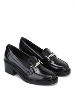 TOD'S: Mocassini e slippers online - Mocassini Double T neri con tacco