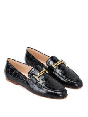 TOD'S: Mocassini e slippers online - Mocassini doppia T in pelle stampa cocco