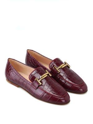 TOD'S: Mocassini e slippers online - Mocassini Double T pelle mosto stampa cocco