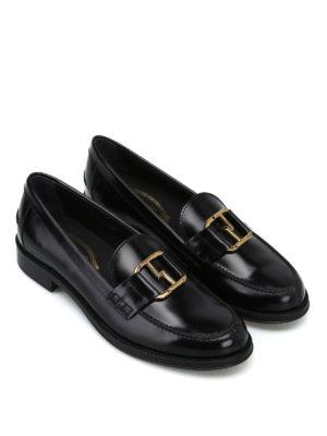 TOD'S: Mocassini e slippers online - Mocassini neri con morsetto ovale doppia T
