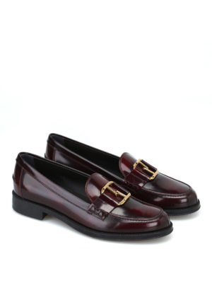 TOD'S: Mocassini e slippers online - Mocassini con morsetto doppia T color mosto