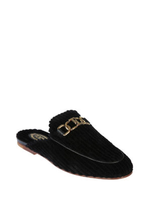 TOD'S: Mocassini e slippers online - Slipper in velluto a coste e pelle Double T