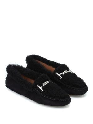 TOD'S: Mocassini e slippers online - Mocassini in suede e montone con doppia T