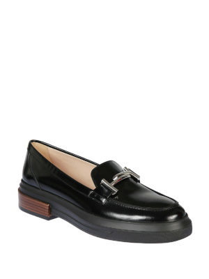 TOD'S: Mocassini e slippers online - Mocassini in vernice nera flatform Double T