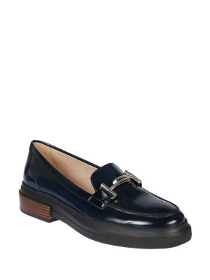 TOD'S: Mocassini e slippers online - Mocassini in vernice blu flatform Double T