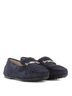 TOD'S: Mocassini e slippers online - Mocassini suede blu frange forate