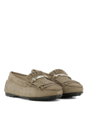 TOD'S: Mocassini e slippers online - Mocassini in suede frange forate