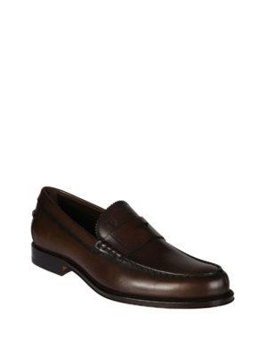 TOD'S: Mocassini e slippers online - Mocassini in pelle e logo impresso