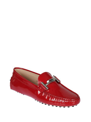 TOD'S: Mocassini e slippers online - Mocassini Gommini Double T in vernice rubino
