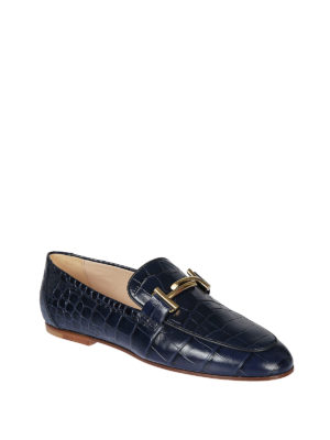 TOD'S: Mocassini e slippers online - Mocassini blu rettile Gommini Double T