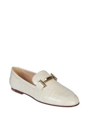 TOD'S: Mocassini e slippers online - Mocassini bianchi rettile Gommini Double T