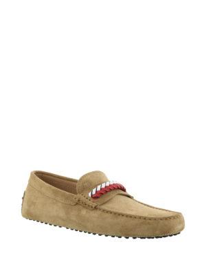 TOD'S: Mocassini e slippers online - Mocassini Gommino in suede marrone
