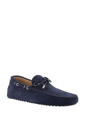 TOD'S: Mocassini e slippers online - Mocassini Gommino in nabuk blu navy