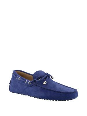 TOD'S: Mocassini e slippers online - Mocassini Gommino in nabuk blu