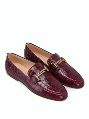 TOD'S: Mocassini e slippers online - Mocassini in pelle stampata color vinaccia