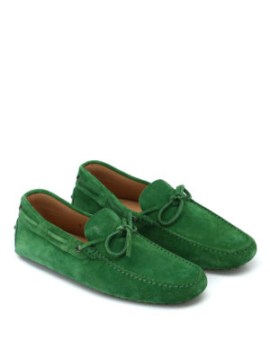 TOD'S: Mocassini e slippers online - Mocassini in camoscio verde