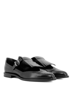 TOD'S: Mocassini e slippers online - Monk strap brogue in pelle e velluto