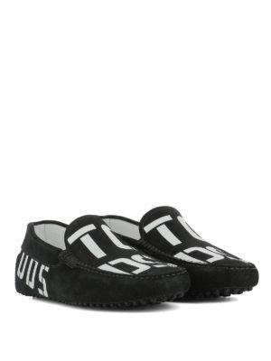TOD'S: Mocassini e slippers online - Mocassini in suede con stampa logo